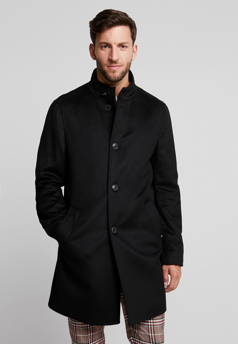 Tommy Hilfiger Tailored - STAND UP COLLAR OVERCOAT - Classic coat - black