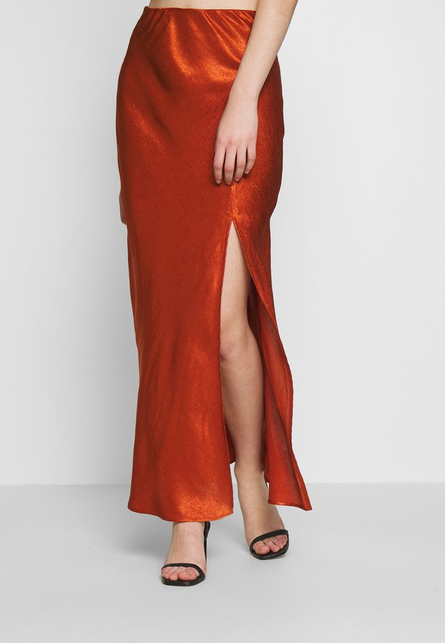 ORBIT BIAS SPLIT SKIRT - Maxi skirt - copper