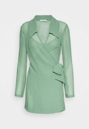 CRUSH WRAP COLLAR DRESS - Tubino - sage