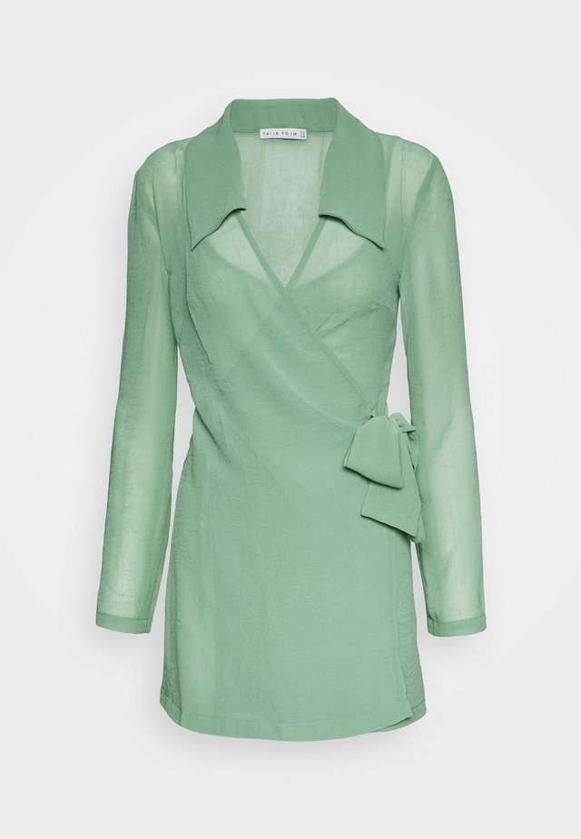 CRUSH WRAP COLLAR DRESS - Shift dress - sage
