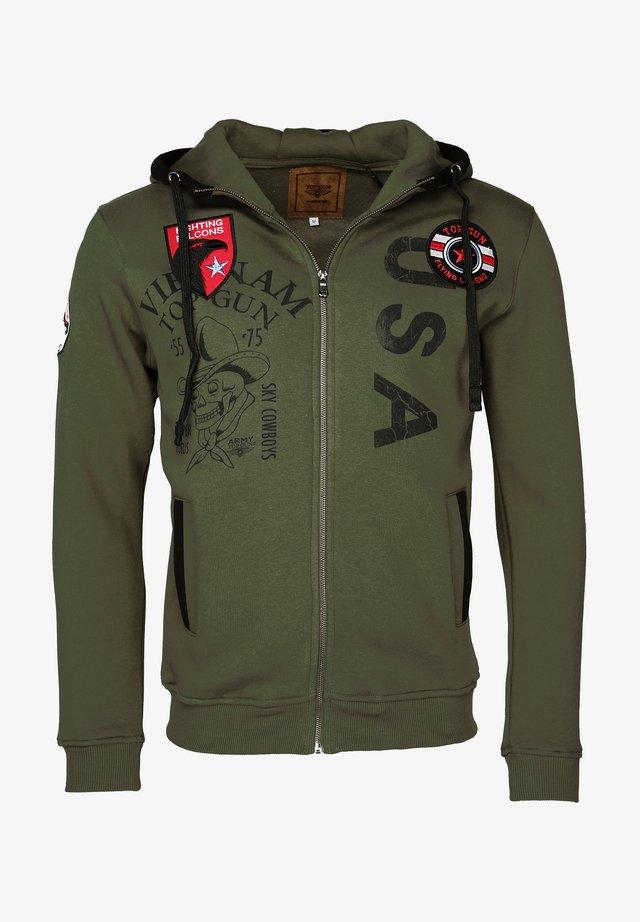 MIT KAPUZE PRINTER - Zip-up hoodie - olive