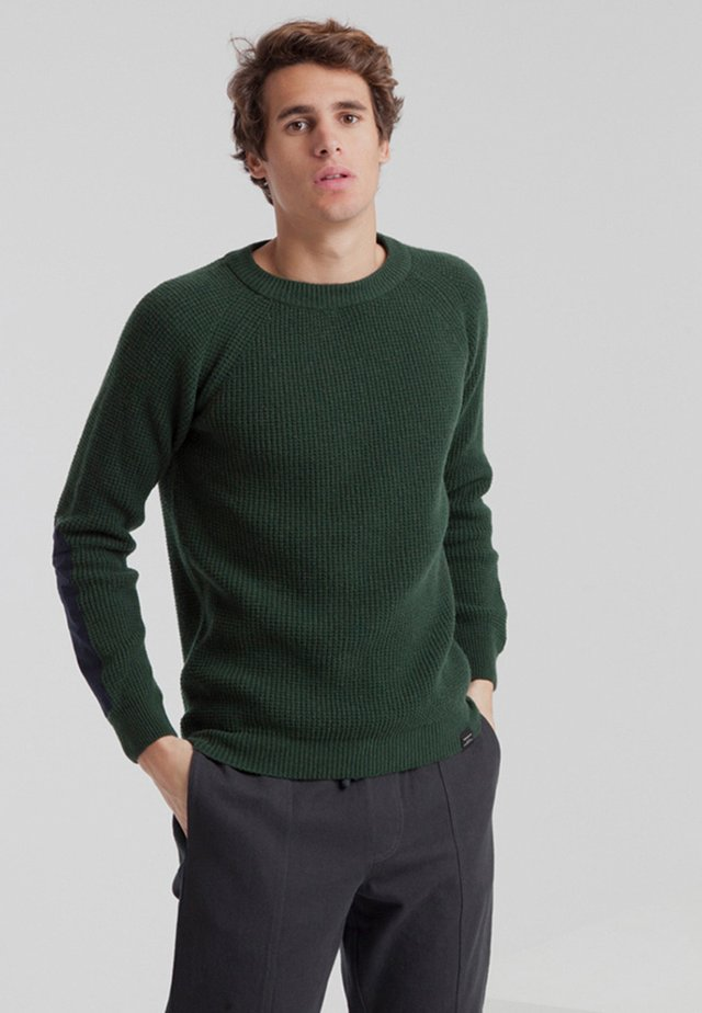 PATCHED ELBOWS - Jumper - scarab green