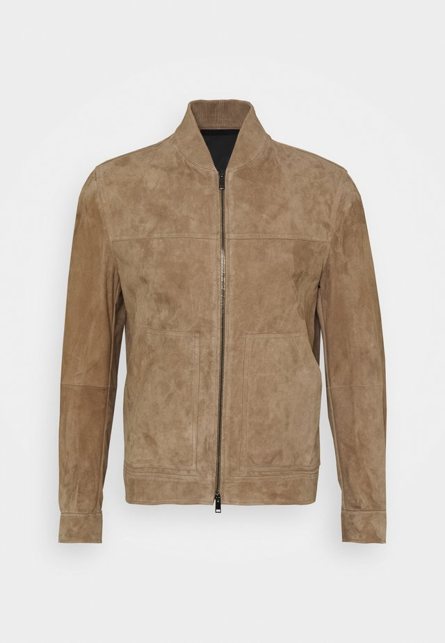 FLETCHER - Leather jacket - dark bark/asphalt