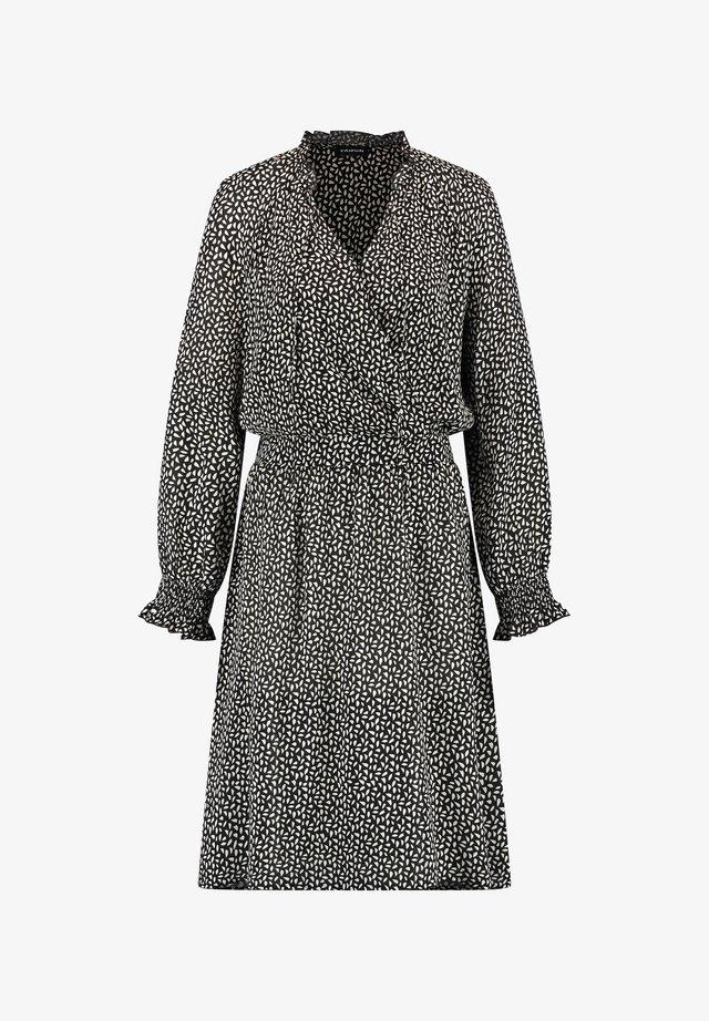 KLEID LANGARM KURZ KLEID MIT WICKEL-AUSSCHNITT - Korte jurk - black gemustert
