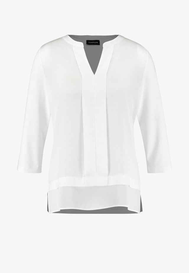 T-SHIRT 3/4 ARM SATIN-FRONT - Bluse - offwhite
