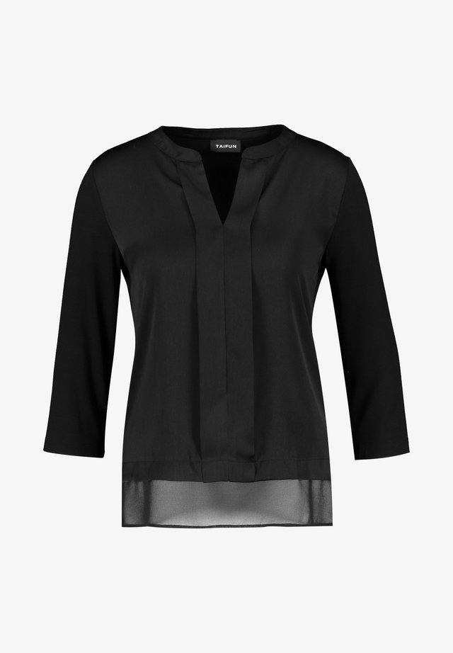 T-SHIRT 3/4 ARM SATIN-FRONT - Bluse - black