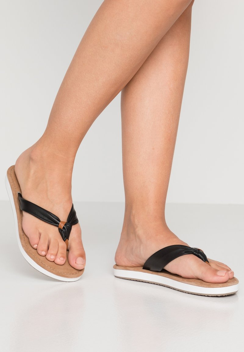 Tamaris - T-bar sandals - black/nut