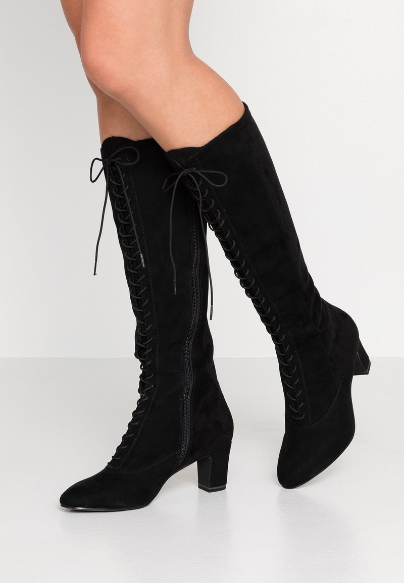 Tamaris - Šněrovací vysoké boty - black
