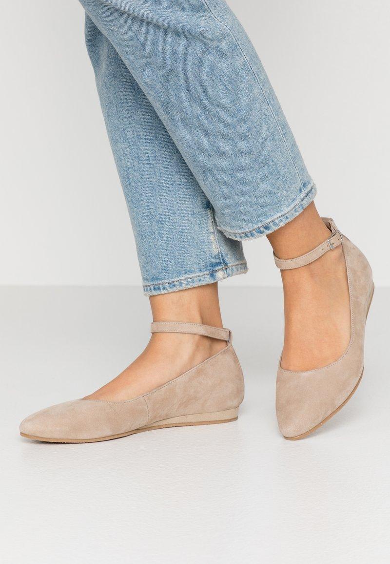 Tamaris - Ankle strap ballet pumps - taupe