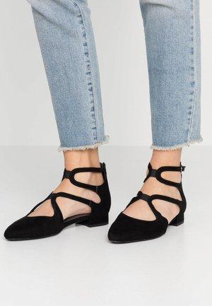 WOMS SLIP-ON - Ankle strap ballet pumps - black