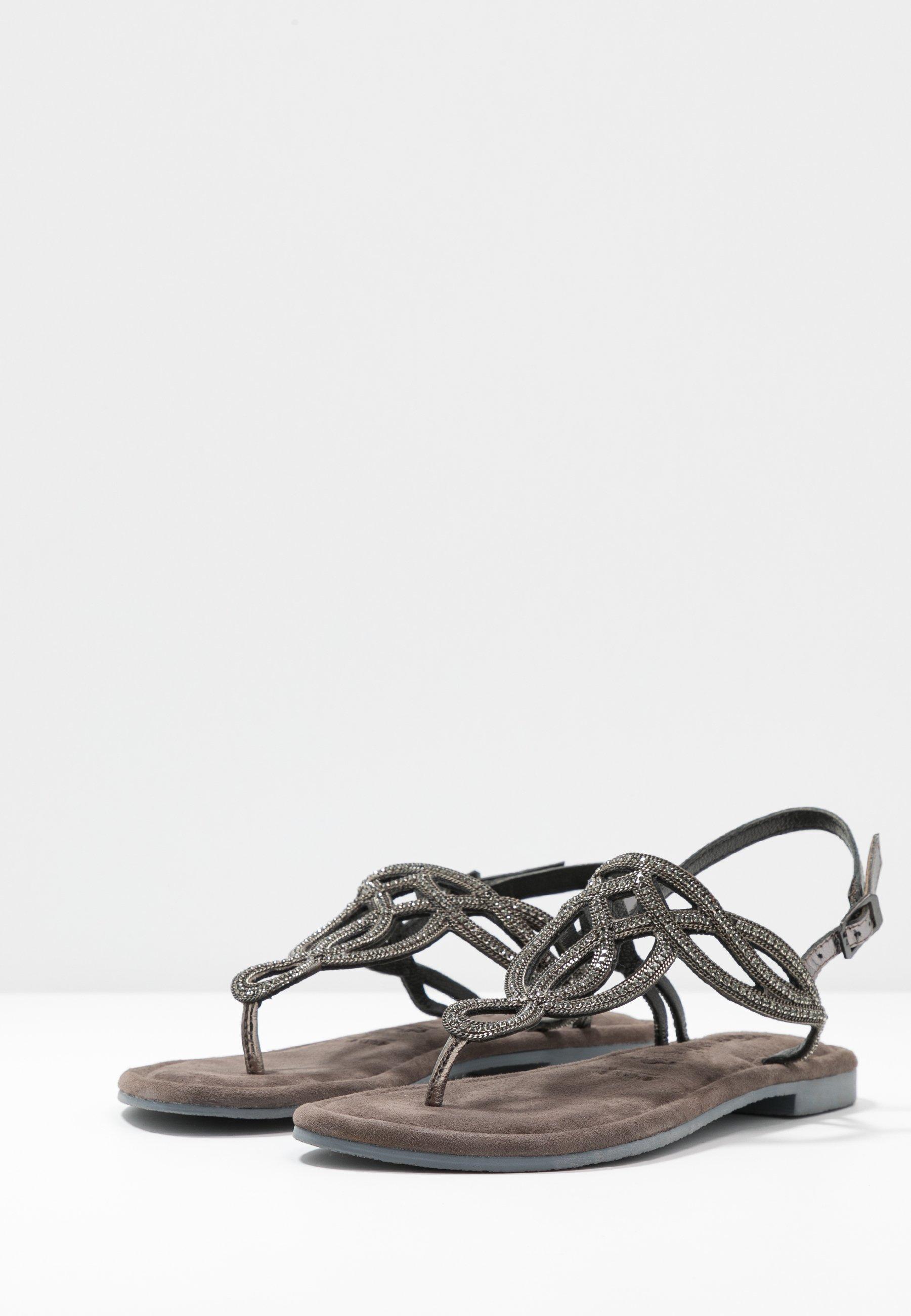 Tamaris T-bar sandals - black metallic