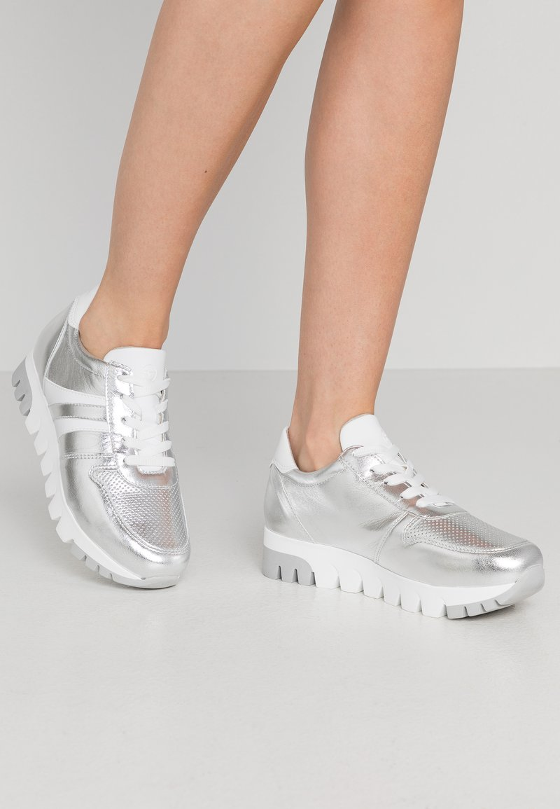 Tamaris - LACE-UP - Trainers - silver/white