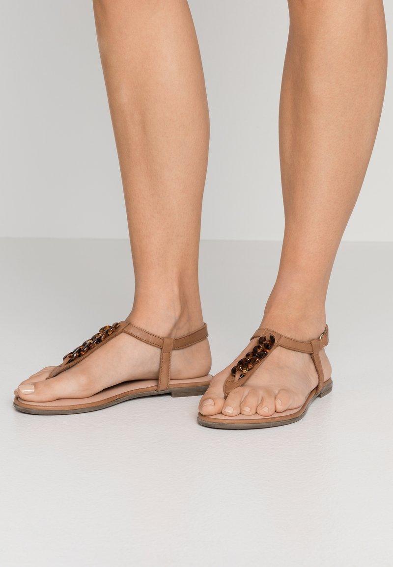 Tamaris - T-bar sandals - cognac