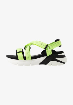 WOMS SANDALS - Wedge sandals - lime neon