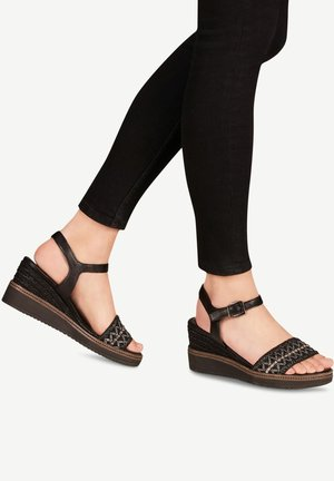 TAMARIS SANDALETTE - Sandalen met sleehak - black