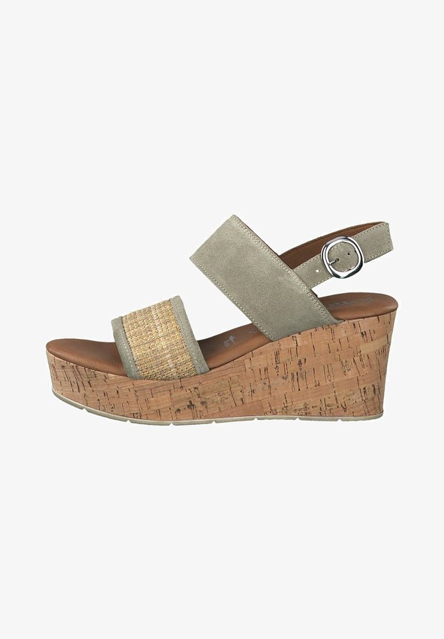 TAMARIS SANDALETTE - Sandalen met plateauzool - sage/rope