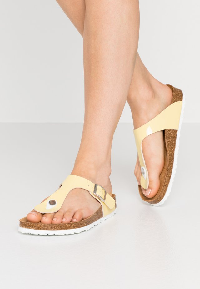 SLIDES - Sandaler m/ tåsplit - soft yellow
