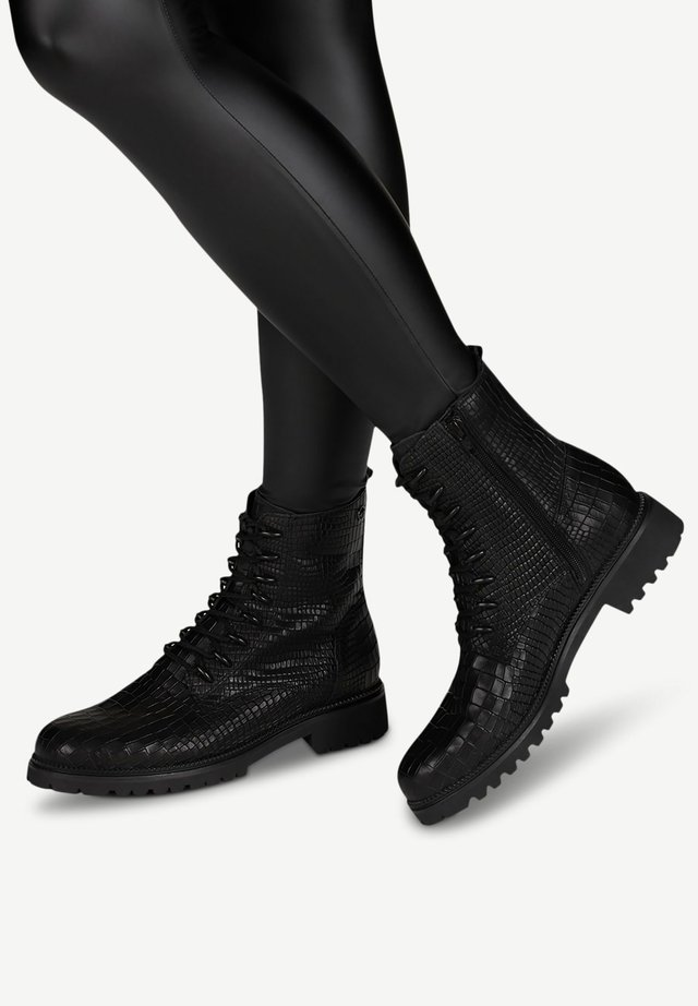 Bottines à lacets - black croco