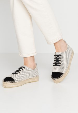 LACE-UP - Espadrilles - white/black