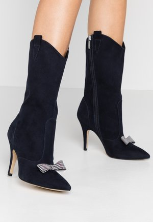 High heeled boots - navy