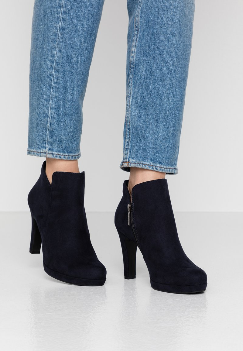 Tamaris - High heeled ankle boots - navy