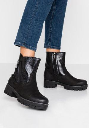Platform ankle boots - black/black metallic