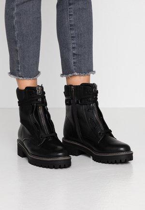 Lace-up ankle boots - black matt