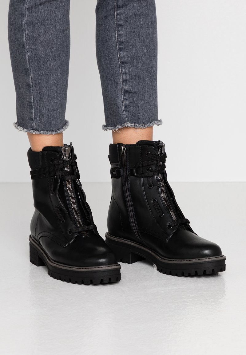 Tamaris - Lace-up ankle boots - black matt
