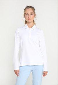 adidas Golf - ESSENTIALS HEATHER LONG SLEEVE POLO - Maglietta a manica lunga - white - 0