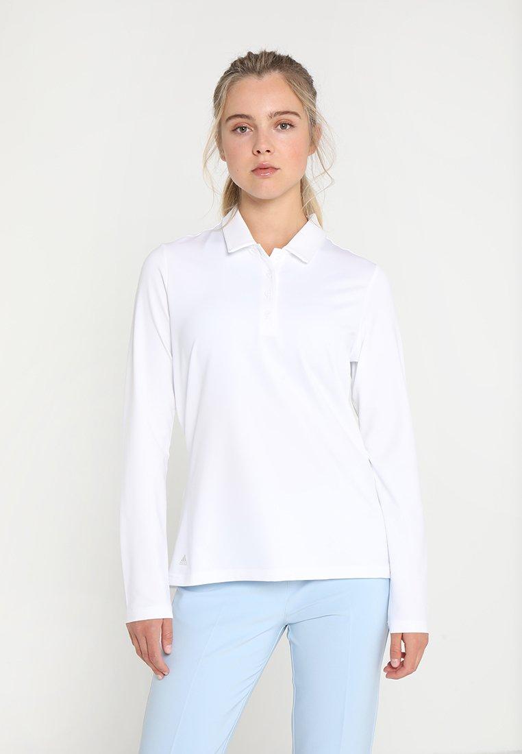 adidas Golf - ESSENTIALS HEATHER LONG SLEEVE POLO - Maglietta a manica lunga - white
