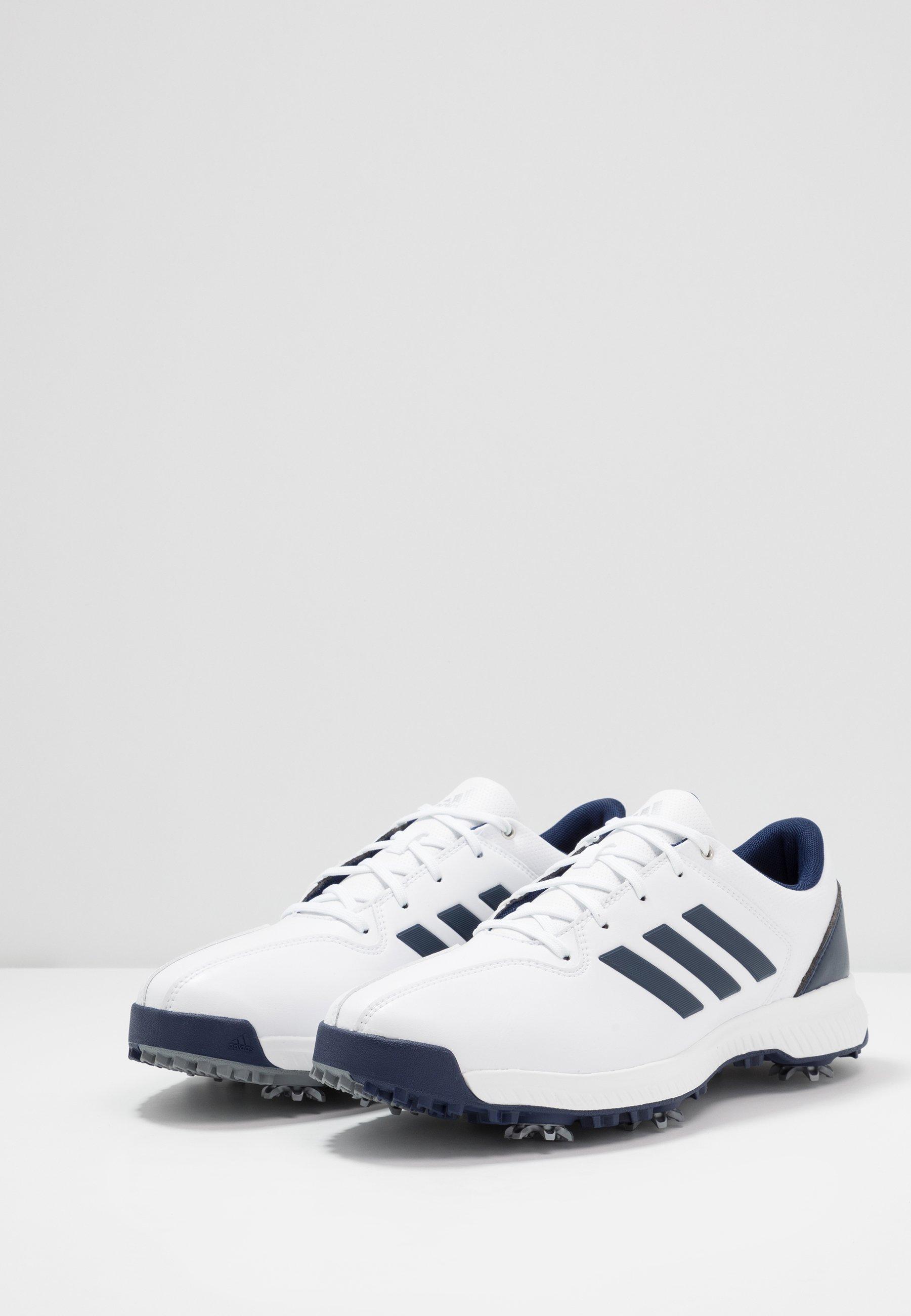 adidas Golf CP TRAXION - Obuwie do golfa - footwear white/dark blue/silver metallic