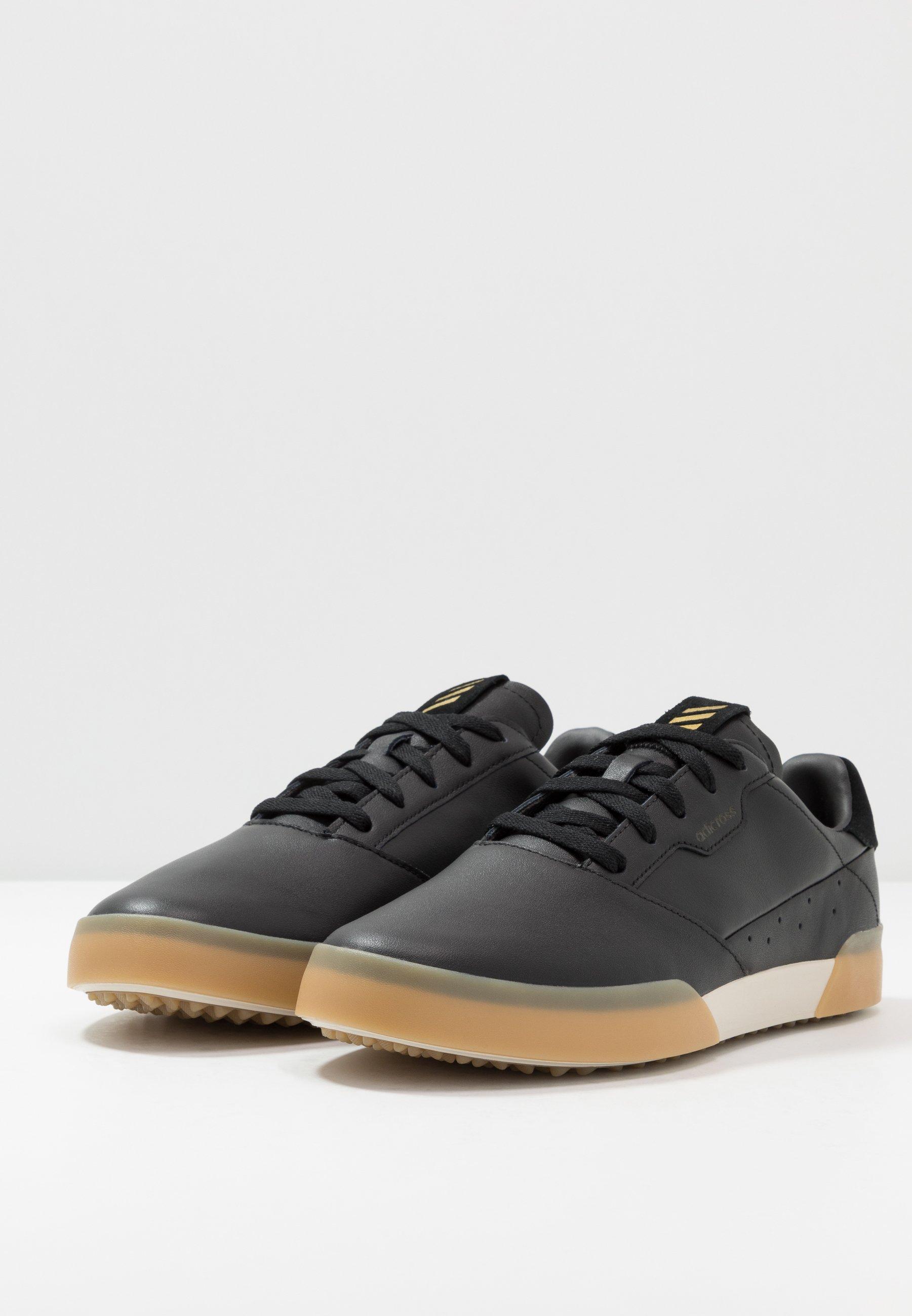 Adidas Golf Adicross Retro - Golfskor Core Black/gold Metallic/clear Brown