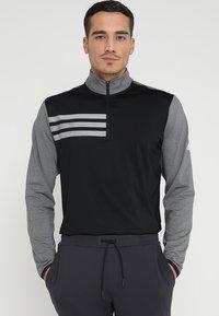 adidas Golf - 3 STRIPES COMPETITION 1/4 ZIP - Langærmede T-shirts - black heather/black - 0