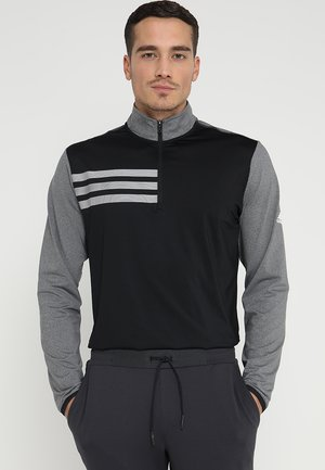 3 STRIPES COMPETITION 1/4 ZIP - Bluzka z długim rękawem - black heather/black