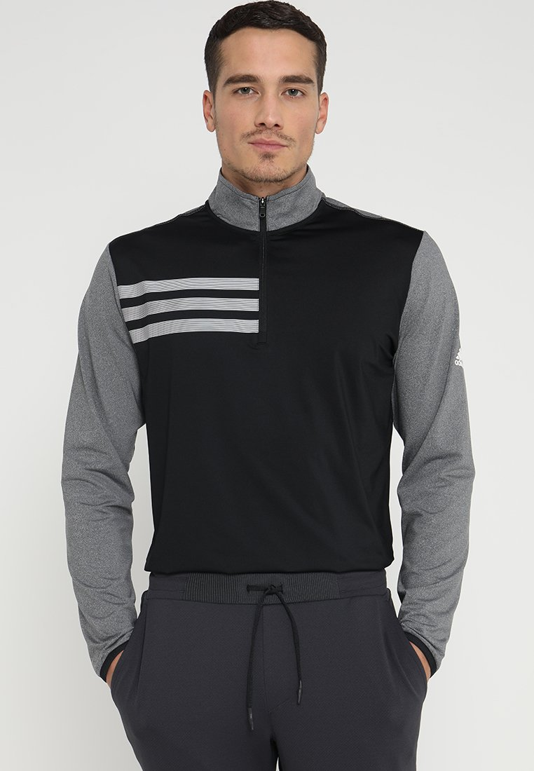 adidas Golf - 3 STRIPES COMPETITION 1/4 ZIP - Long sleeved top - black heather/black