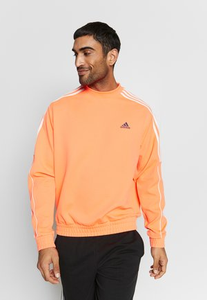 STRIPE COLLECTION DOBBY CREW - Mikina - signal coral