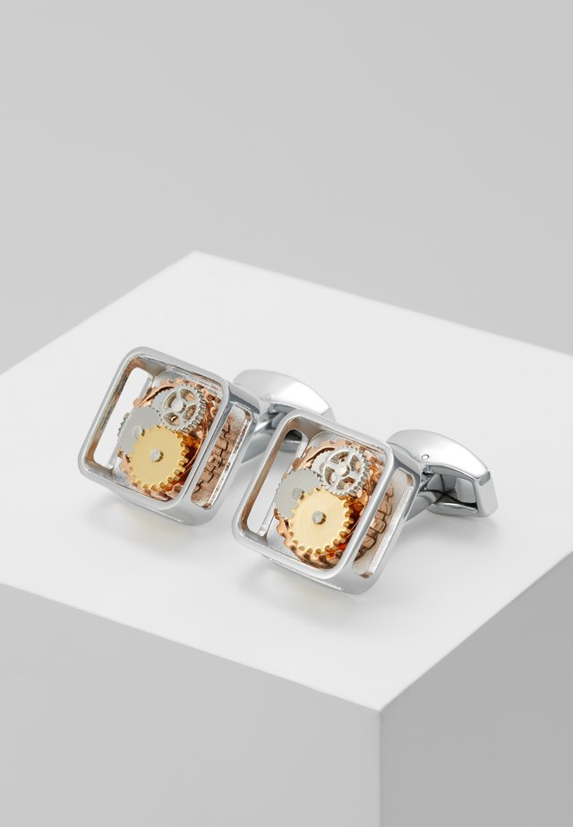 SQUARE GEAR - Cufflinks - rhodium-coloured