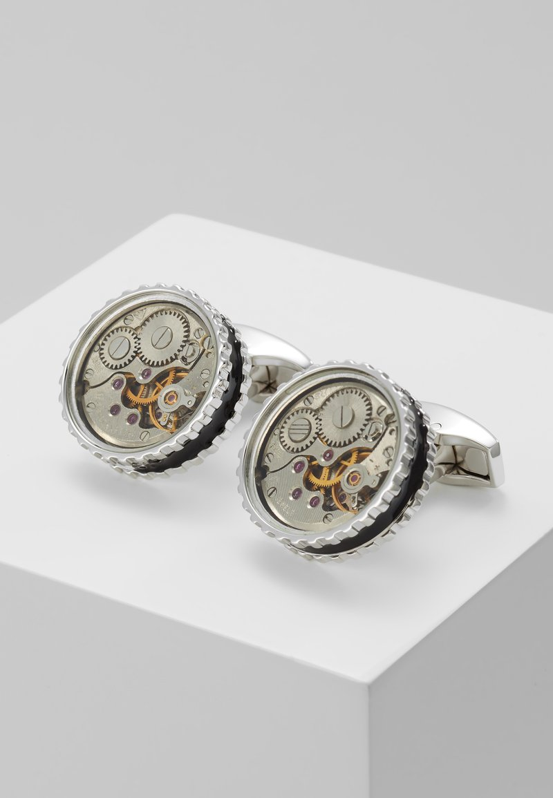 Tateossian - ROUND SKELETON GEAR - Cufflinks - rhodium-coloured/black