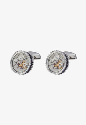 ROUND SKELETON GEAR - Cufflinks - rhodium-coloured/black