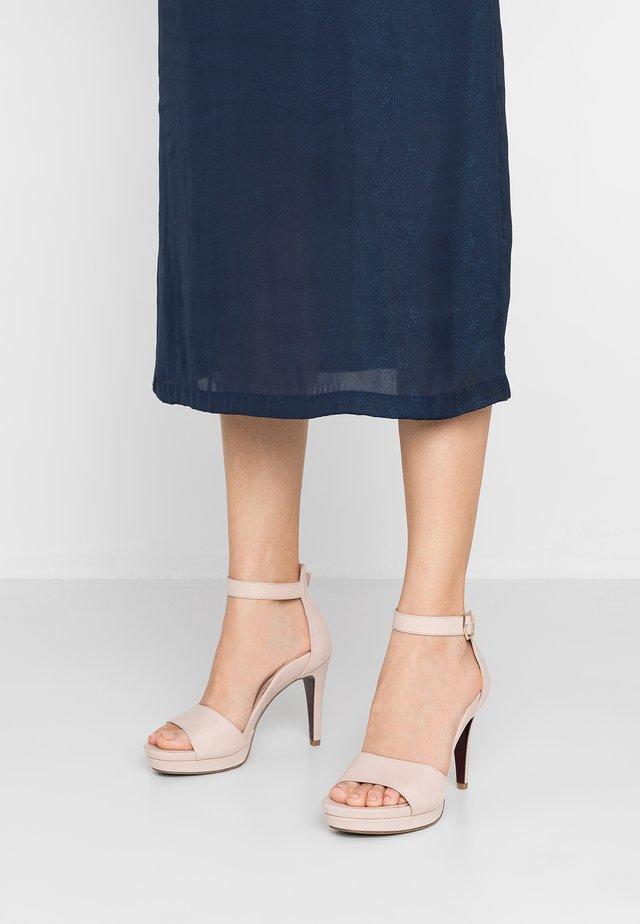 High heeled sandals - powder