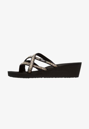MUSH MANDALYN WEDGE OLA 2 - Sandály s odděleným palcem - agave/black/metallic