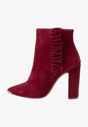 FRILLIS - High heeled ankle boots - maroon