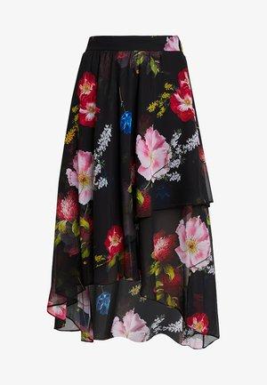 RITTA BERRY SUNDAE RUFFLE MIDI SKIRT - A-line skirt - black