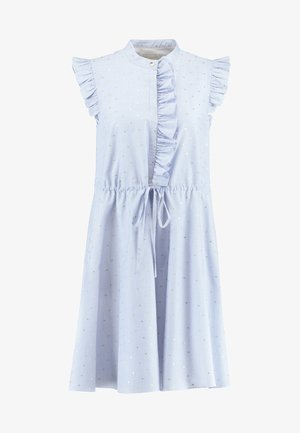 BEYONC STAND COLLAR RUFFLE SHIFT - Day dress - blue