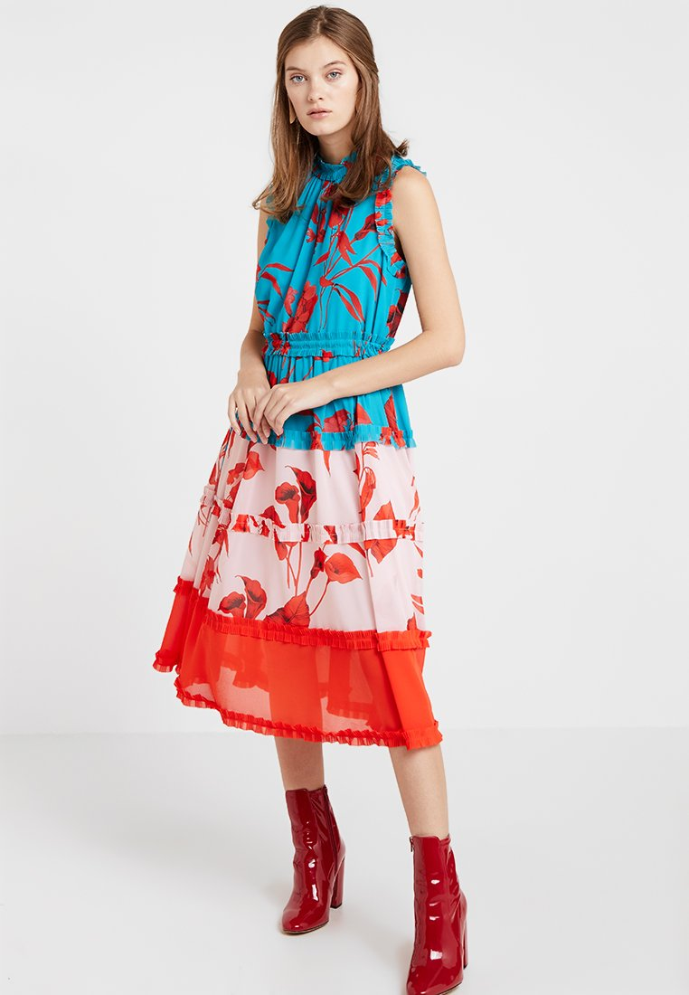 Ted Baker - CAMELIS FANTASIA TIERED MIDI DRESS - Cocktail dress / Party dress - turquoise