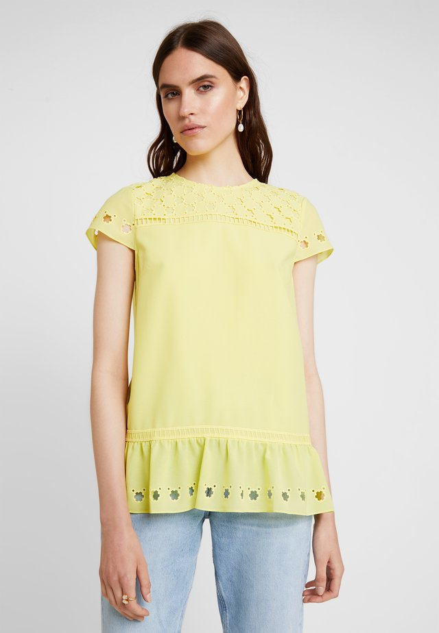 FELLIE BROIDERIE PLEATED FRILL - Blouse - light yellow