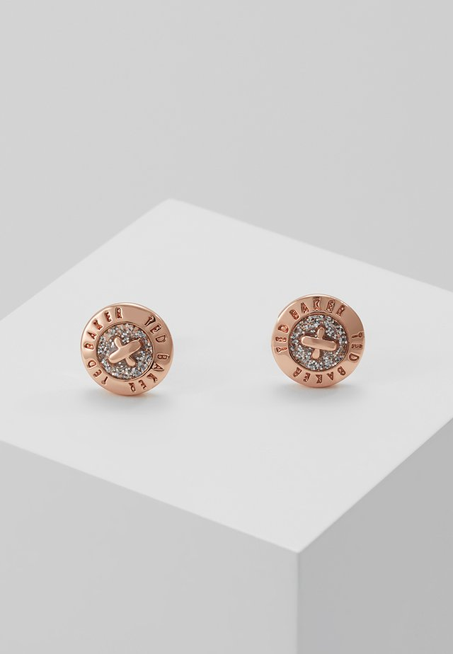 EISLEY ENAMEL MINI BUTTON EARRING - Earrings - rosegold-coloured/silver glitter