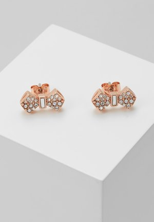 SERSI SOLITAIRE PAVE BOW EARRING - Oorbellen - rose gold-coloured