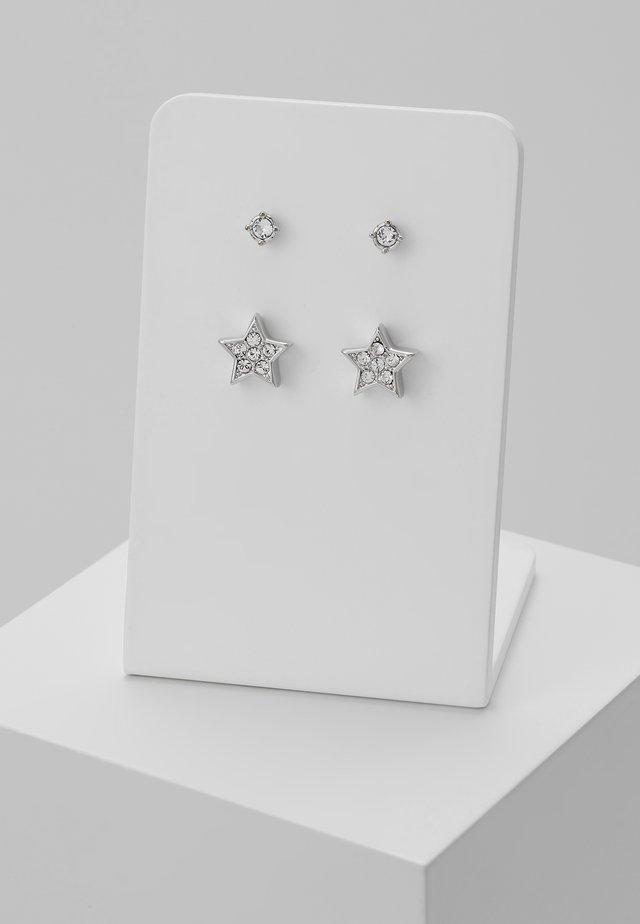 NAIYA NANO STUD PAVE STAR EARRING GIFT SET - Necklace - silver-coloured