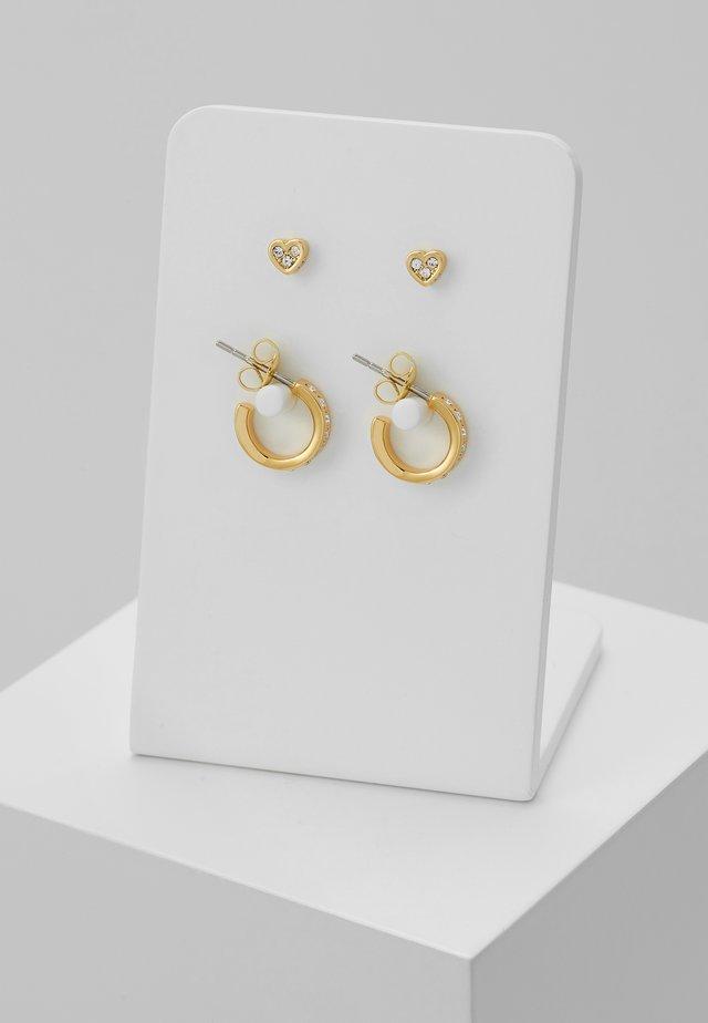 NELSA NANO HEART HUGGIE EARRING GIFT SET - Kolczyki - gold-coloured